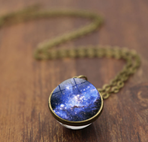 Solar-System-Pendants-Necklace-Galaxy-Planet-Necklace-S-Double-Sided-Glass-Dome
