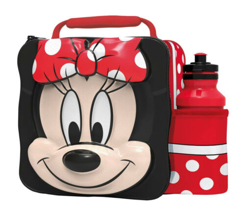 Disney 3D Minnie Mouse Insulated Lunch Bag Box with Bottle