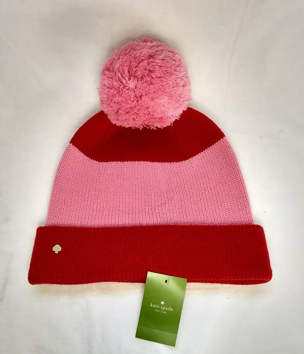 136b416f7fbf7 Kate Spade Color Block Beanie Hat With Pom Lily Pink Red for sale ...