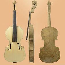 Unfinished 4/4 Violin Birds Eye Maple Back Rib & Neck W/Ebony Fingerboard + Case