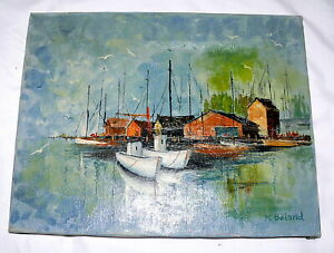 Oil-Painting-Original-Canvas-Boats-Sail-Harbor-M-Boland-Unframed