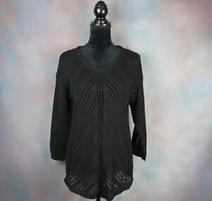 Chelsea-amp-Theodore-Women-039-s-Sweater-Size-Large-Black-Crochet-Open-Knit-3-4-Sleeve