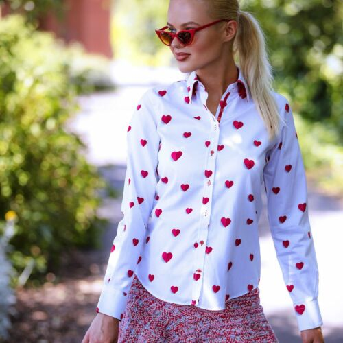 Happy Heart Print Ladies Cotton Shirt Claudio Lugli Womens