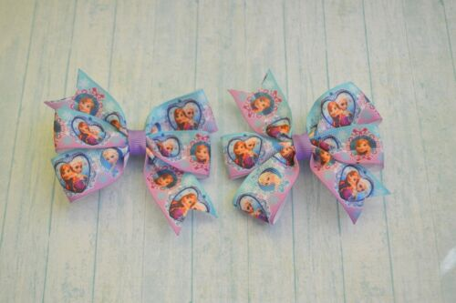 Handmade craft Frozen pair of lovely hair bows//hair clips