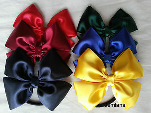 Jemlana-039-s-handmade-school-Satin-hair-ties-for-girls-Good-Size-Bow