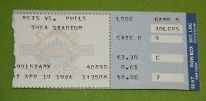 New York Mets Ticket Stub | April 19 1986 | Barry Lyons Debut