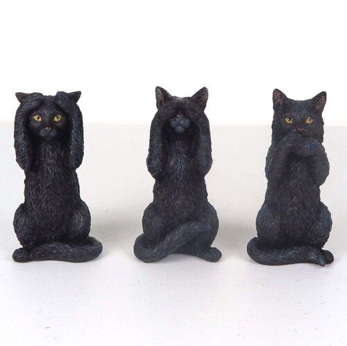 """Black Kittens Cat Figurine Miniature 3.75/""""H New Hear Speak See No Evil"""