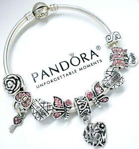 72dd5098d Image is loading Authentic-Pandora-Silver-Bangle-Bracelet-MOM-HEART-PINK-
