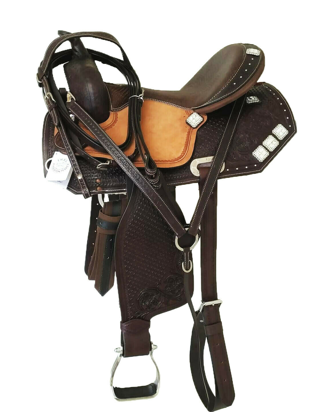 THSL WESTERN BARREL SADDLE NATMarronee 16 FANCY SQUARE CONCHO 1011A