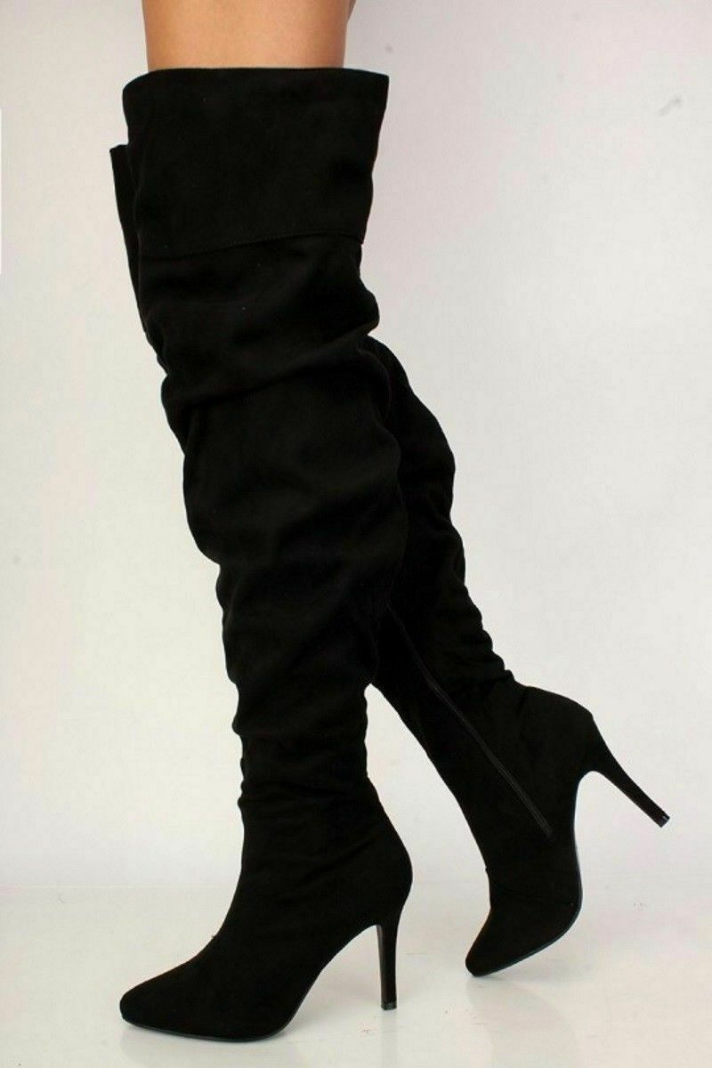 New Womens Black 4.5 Stiletto High Heel Pointy Toe Sexy Over Knee Boot Size 7