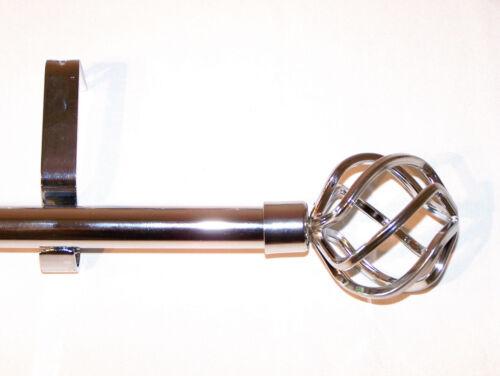 28//19mm Double Layer Matt Black Curtain Pole CAGE Finials 1.2m 1.5m 2.4m 3m