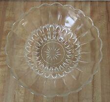 Vintage Depression Teardrop Scalloped Clear Glass Serving Bowl