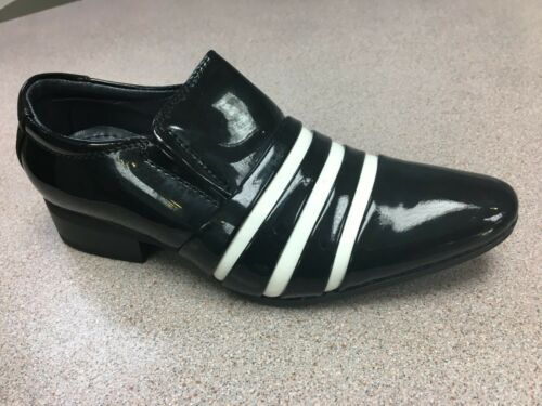 boys dress shoes two tone black//white patent wedding shiny party slip on smart
