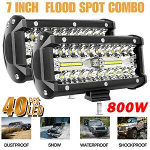 2x-7inch-800W-LED-Work-Light-Bar-Flood-Spot-Combo-Fog-Lamp-Offroad-Driving-Truck