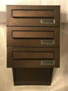 3x Einbaubriefkästen Braun Bronze Antik NEU 3-fach vorbereitet Mauerdurchwurf
