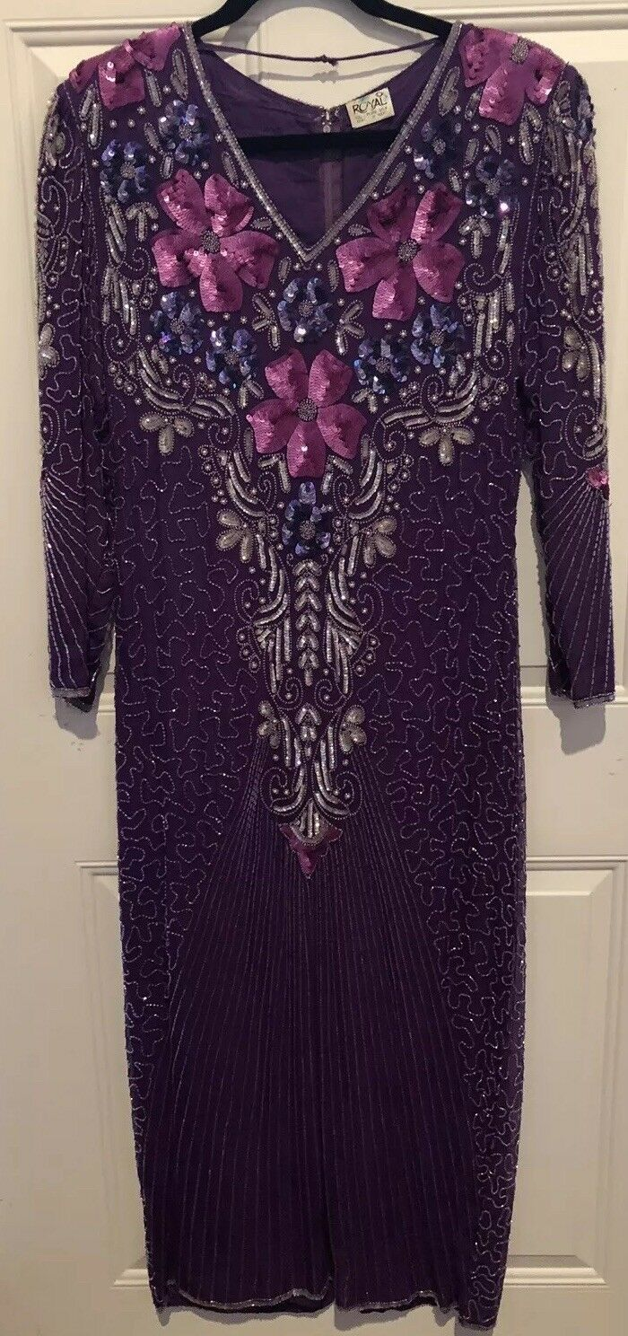 ROYAL Beautiful Purple Beaded Silk Evening Dress  Style Chest 36