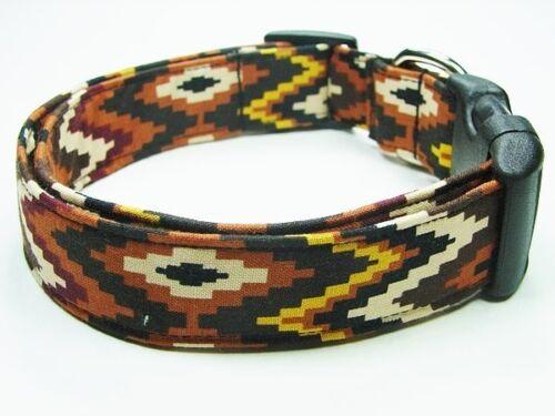 Charming Southwestern Mocha Chevron Dog Collar