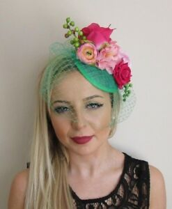 Green Hot Light Pink Rose Birdcage Veil Flower Hair Fascinator Hat ... 37d60e422c7
