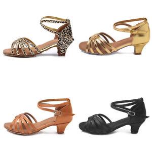 d6fefe9987b Latin Dance Shoes Ladies Girls Women Low Heel Ballroom Tango Dance ...