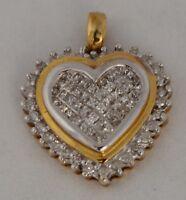 JB17 10K gold Women's Yellow Gold Heart Pendant .50ct Diamond