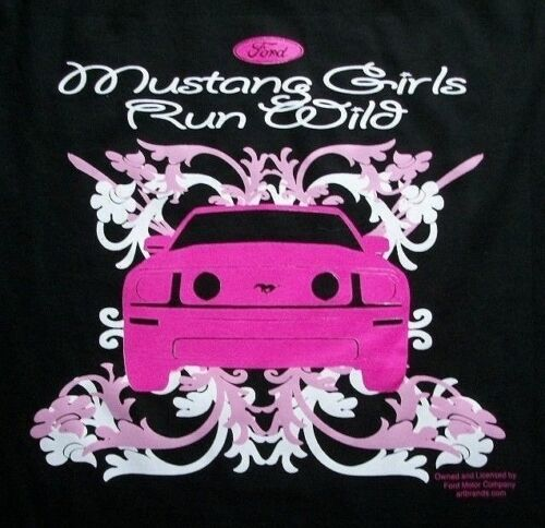 ladies 5X, car Official Licensed Ford Small Mustang Girls Run Wild Shirt
