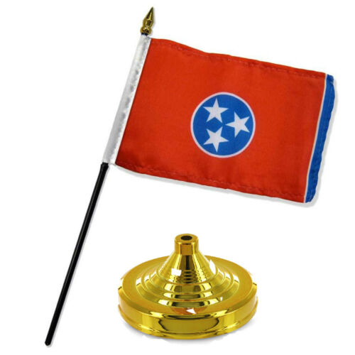 """Tennessee State Flag 4/""""x6/"""" Desk Set Table Stick Gold Base"""
