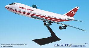 Flight-Miniatures-TWA-747-100-200-1-250-Scale-Display-Plastic-Model-Airplane