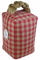 DOOR STOP Laura Ashley fabric Raspberry Red country gingham shabby chic cottage