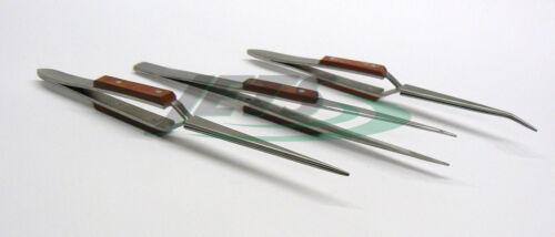 Fiber Grip Tweezers Set of 3 Cross Locking /& Straight Soldering Tweezer Jewelers