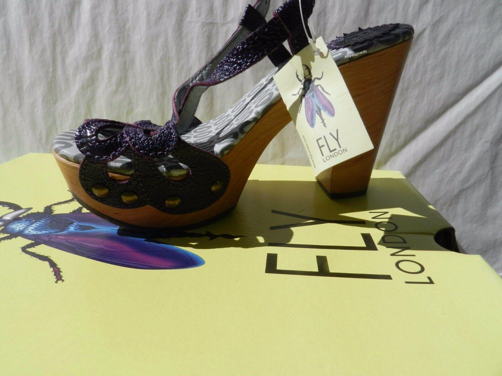 Fly London Sun shoes Femme 36 Sandales Salomés Plateforme Compensé UK3 Neuf