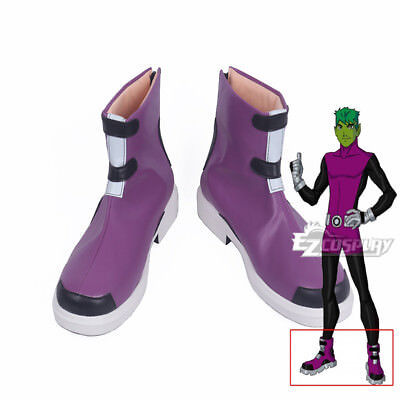 Young Justice Beast Boy Garfield Mark Logan Cosplay Purple Shoes