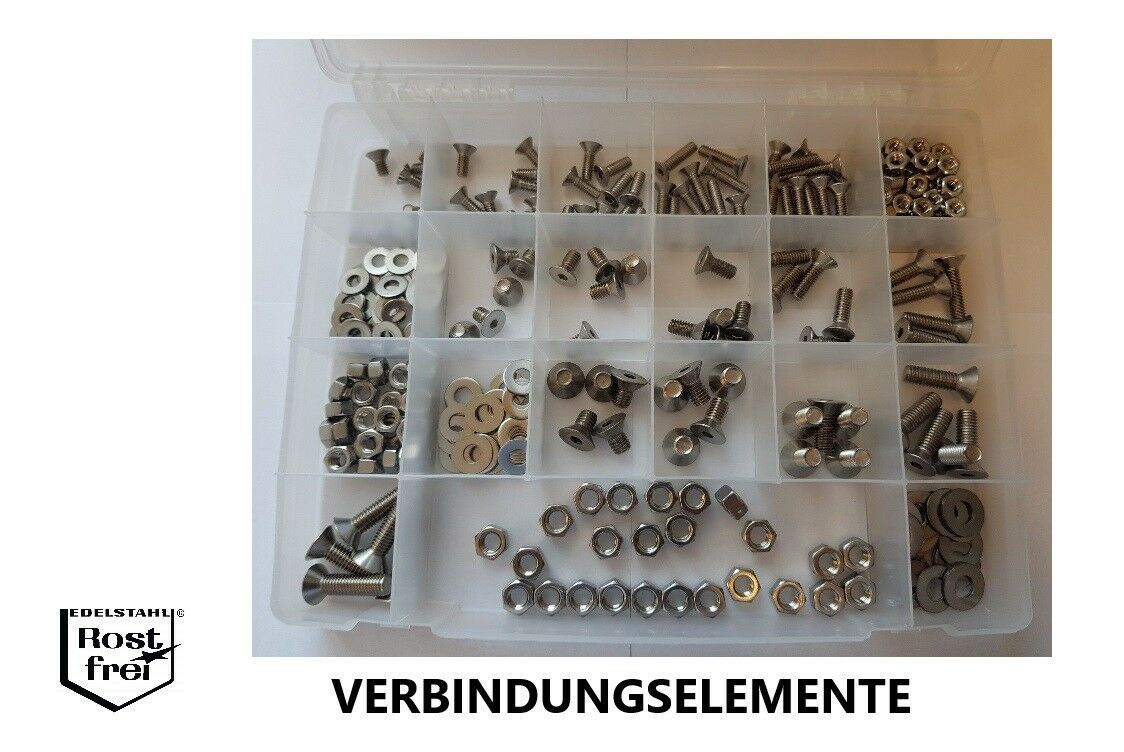UNC EDELSTAHL A2 Zollschrauben Set 300 Teile DIN 7991 Senkkopf 1/4