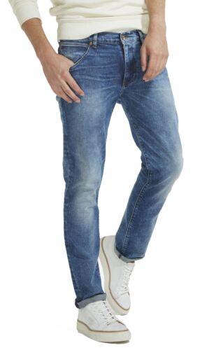 Wrangler Hombres larston Slim Tapered Delgado Elastizado Mick Vintage Denim Azul Jeans