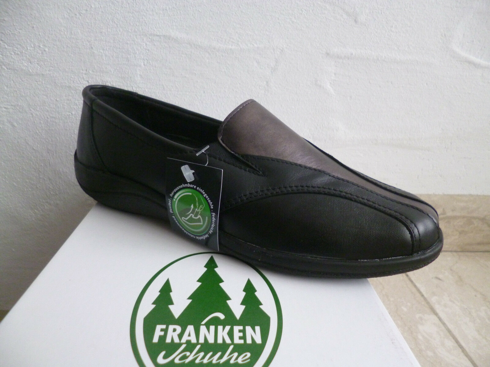 Frankenschuhe Damen Slipper Halbschuhe, Sneakers, schwarz Leder  NEU