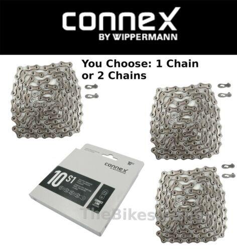 1or 2Pak Wippermann Connex 10S1 10 Speed Bike Silver Chain Nickle /& SS Plates
