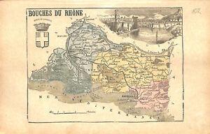 Détails Sur Département Des Bouches Du Rhône Marseille Calvados Caen France Map Carte 1873