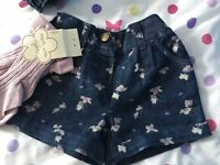 Next Girls Denim Blue Floral Print Shorts With Sparkly Pink Tights Set 3-4 Yrs