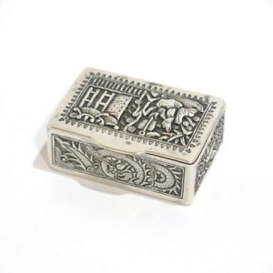 2 1/8 in - Sterling Silver Antique Asian Snuff Box