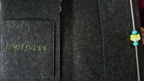 Wollfilz //Filz// U-Heft Hülle//Schutzhülle Untersuchungshefthülle Namen Fuchs