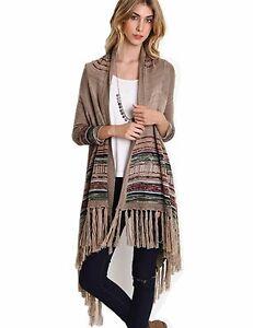 Women-039-s-Bohemian-Native-Fringe-Cardigan-Sweater-S-M