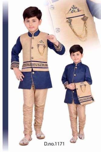 Kids Indo Western Kurta Pyjamas Sherwani Boys Suits Blue Sandal//Rust Blue