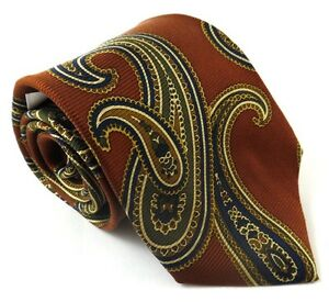 T-Harris-London-Necktie-Tie-Silk-Long-60-Inches-Paisley-Pattern-Rust-Brown-NWT