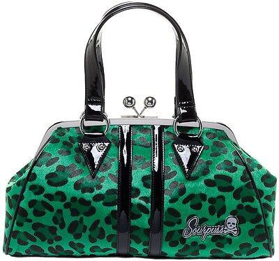 SOURPUSS TEMPTRESS Leopard print GREEN PURSE punk 50's