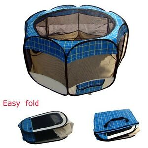 New-Medium-Blue-Grid-Pet-Dog-Cat-Tent-Playpen-Exercise-Play-Pen-Soft-Crate