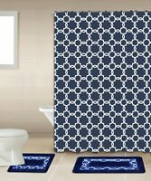 Galaxy Navy & White 15-piece Bathroom Accessory Set 2 Bath Mats Shower Curtain
