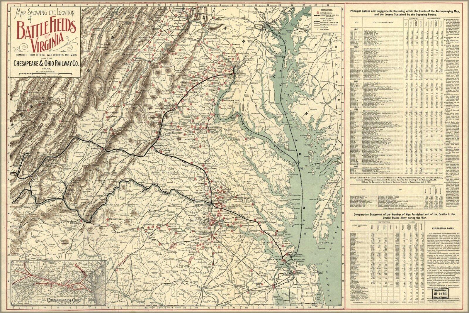 Plakat, Viele Größen; Karte von Kampf Fields Of Virginia 1902
