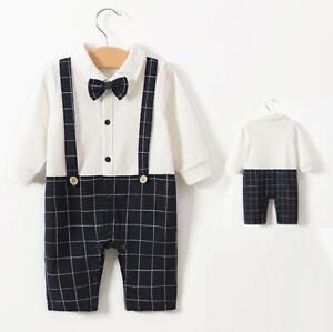 Baby Boy Formal*Party*Wedding*Tuxedo 1pc Grey Brace Suit Bow tie Free UK P+P