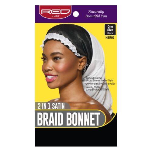 RED BY KISS 2 IN 1 SATIN BRAID BONNET ONE SIZE BLACK #HBR02 HAIR WRAP CAP