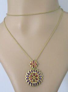 Secondhand-18ct-yellow-gold-amethyst-garnet-orange-citrine-pendant-necklace
