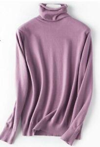 Sweater-Tops-Turtleneck-sweater-T-shirt-Long-Sleeve-Blouse-Women-039-s-Solid